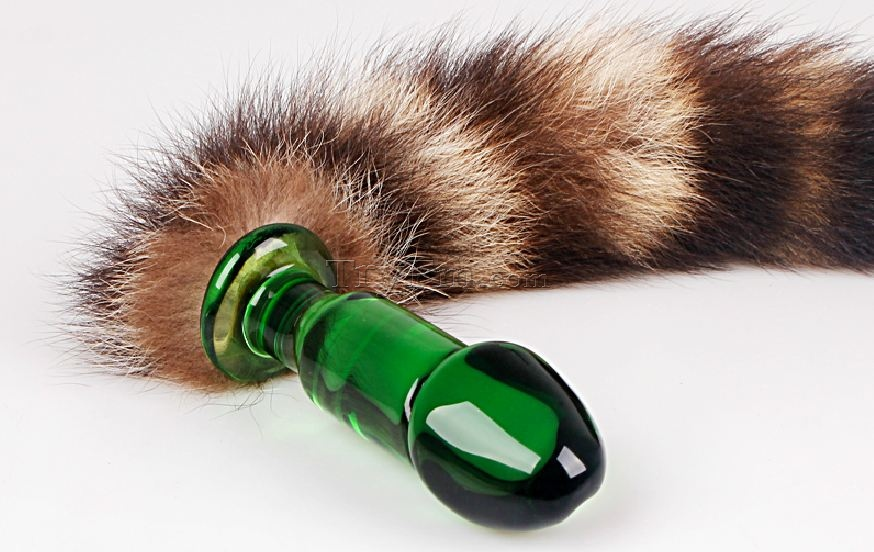 Fox tail multicolor glass dildo
