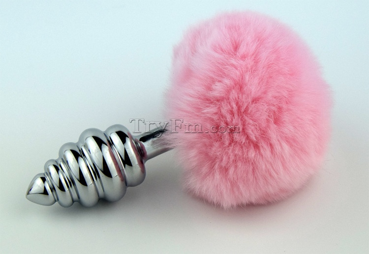 f421d067b19 Pink rabbit tail with stainless steel twist silver plug - TRYFM.COM